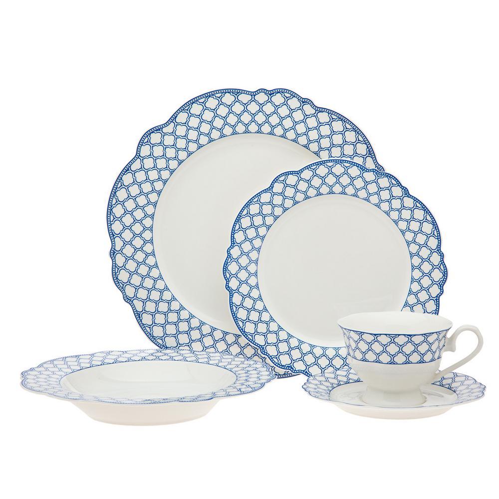 20-Piece Bristol Blue Scallop Bone Dinner Set