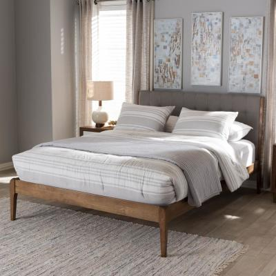 Clifford Mid-Century Gray Fabric Upholstered King Size Bed