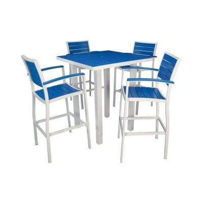 Euro Satin White All-Weather Aluminum/Plastic Outdoor Bar Set in Pacific Blue Slats