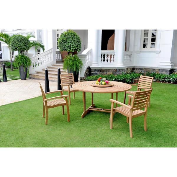 Royal 5-Piece Teak Round Table Outdoor Dining Set with Lazy Susan