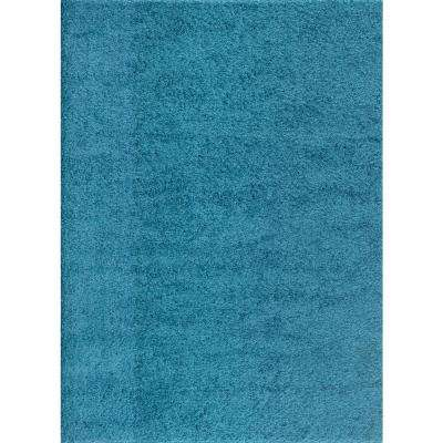 Soft Cozy Solid Turquoise 7 ft. 10 in. x 10 ft. Indoor Shag Area Rug