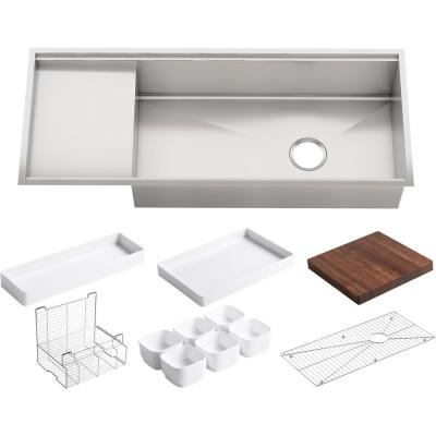 Stages Workstation Undermount Stainless Steel 45 in. Single Bowl Kitchen Sink Kit with Included Accessories