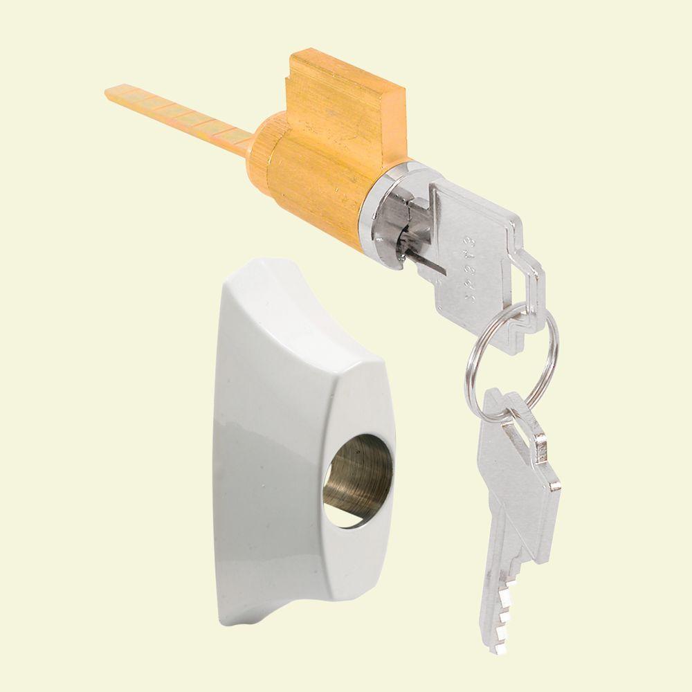 Sliding Door Keyed Locking Unit In White Diecast, 1 27/32 In. Prime Line ...