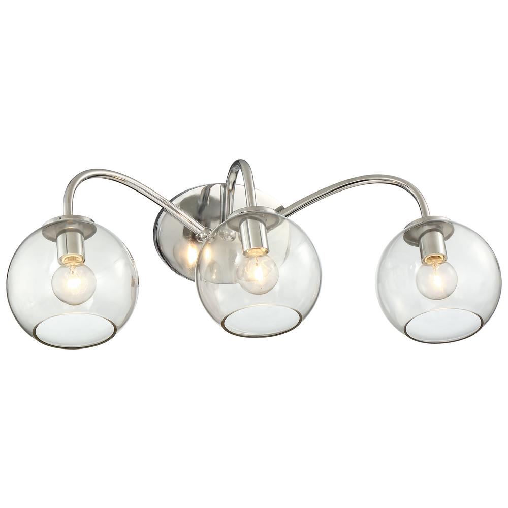 Exposed 3-Light Chrome Bath Light