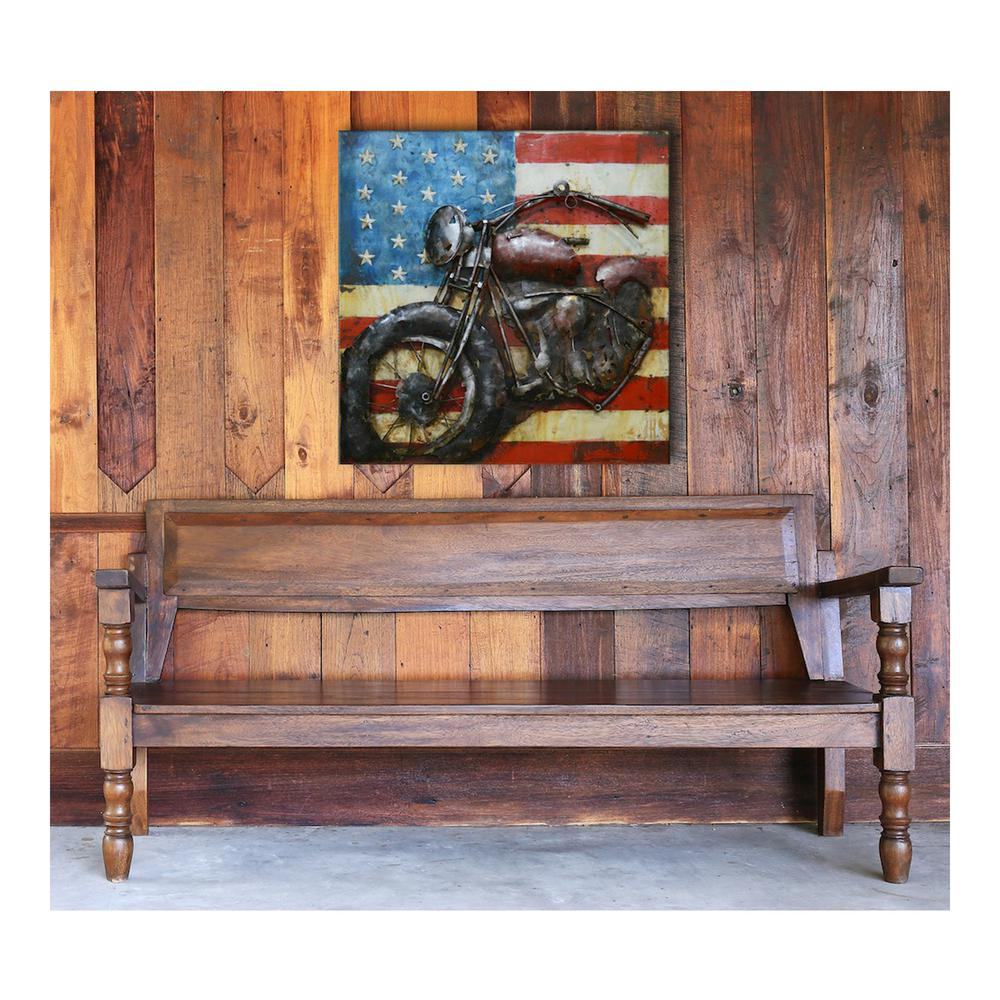 "39 in. x 39 in. ""America Road"" Metal Wall Art"