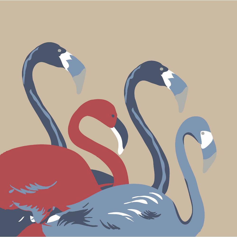 Denim Flamingo Square Outdoor Throw Pillow