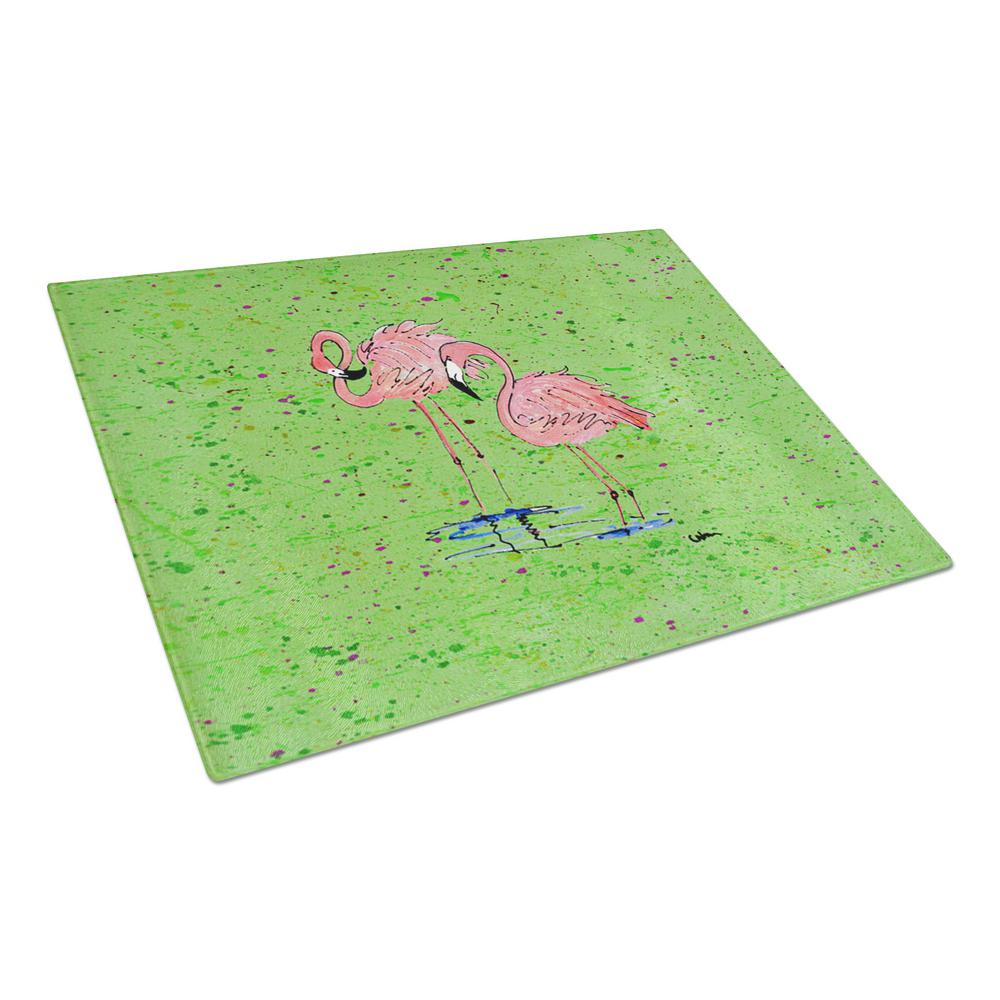 Pink Flamingos on Green Speckle Tempered Glass Cutting Board