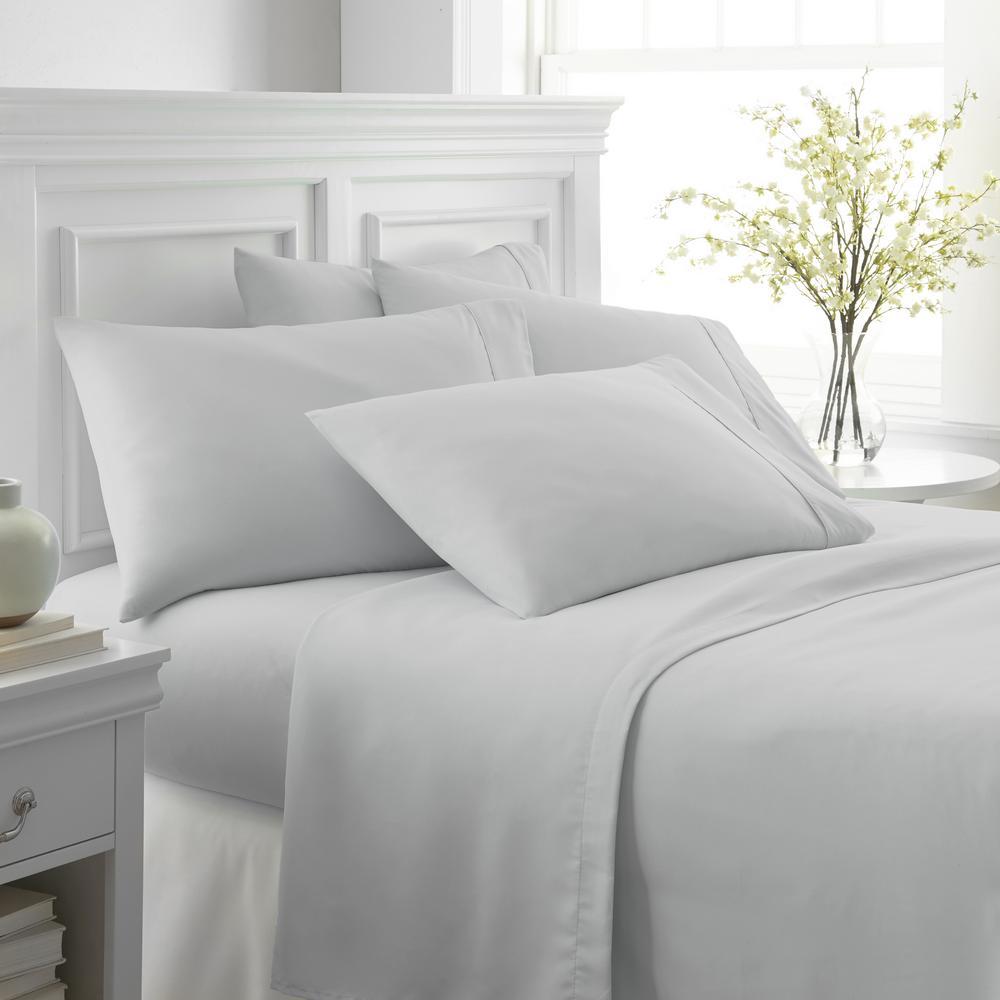 Becky Cameron Performance Light Gray Twin Xl 6 Piece Bed Sheet Set