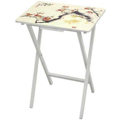 Oriental Furniture 19 in. x 13.75 in. Cherry Blossom TV Tray in White