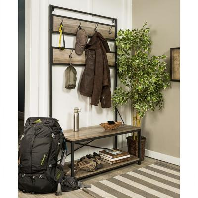 72 in. Grey Wash Industrial Metal and Wood Hall Tree
