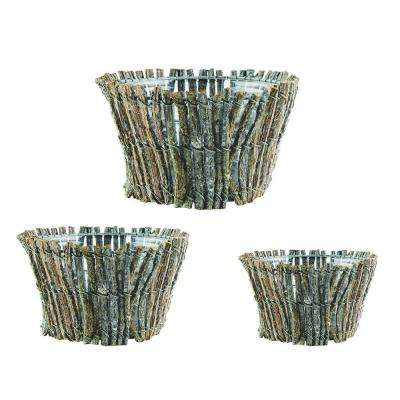 7 in., 8 in., 9 in. Wood Grapevine Baskets (Set of 3)