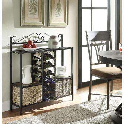 12-Bottle Black and Brown Floor Wine Rack