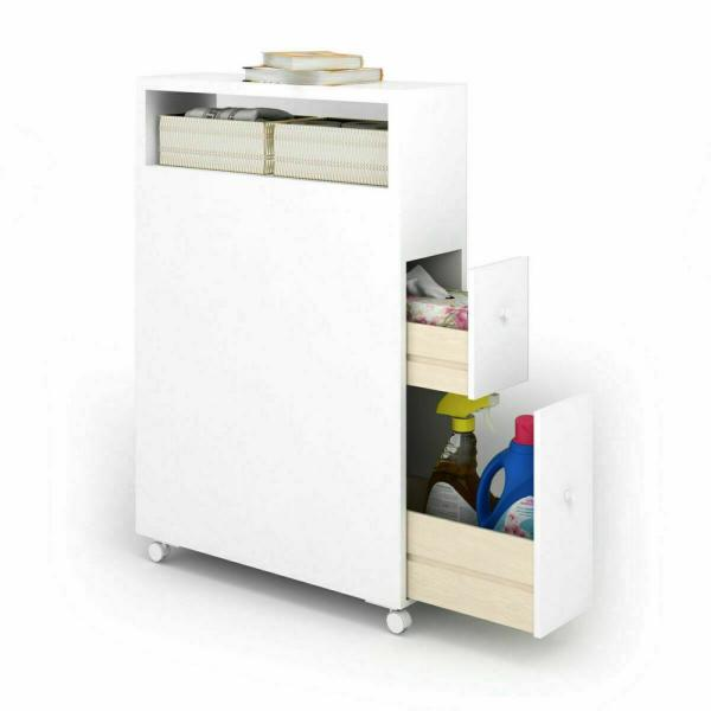 6 in. Wood Floor Bathroom Space Saver Storage Rolling Cabinet Holder Organizer Bath Toilet in White