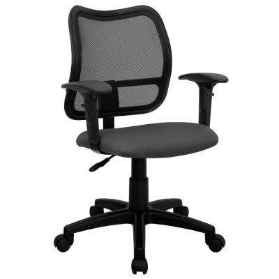 Mid-Back Gray Mesh Swivel Task Chair with Fabric Padded Seat and Height Adjustable Arms