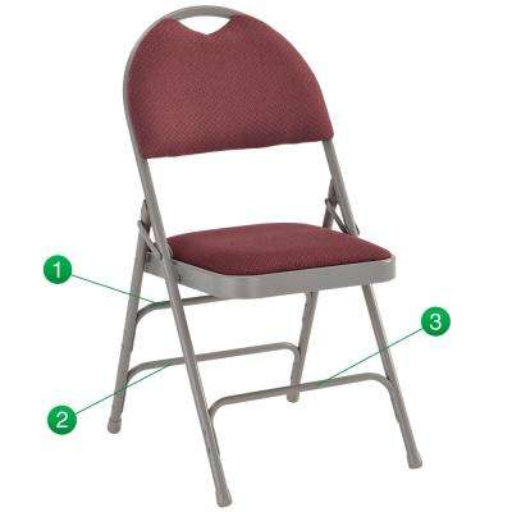 Burgundy/Gray Fabric Padded Seat Folding Chair