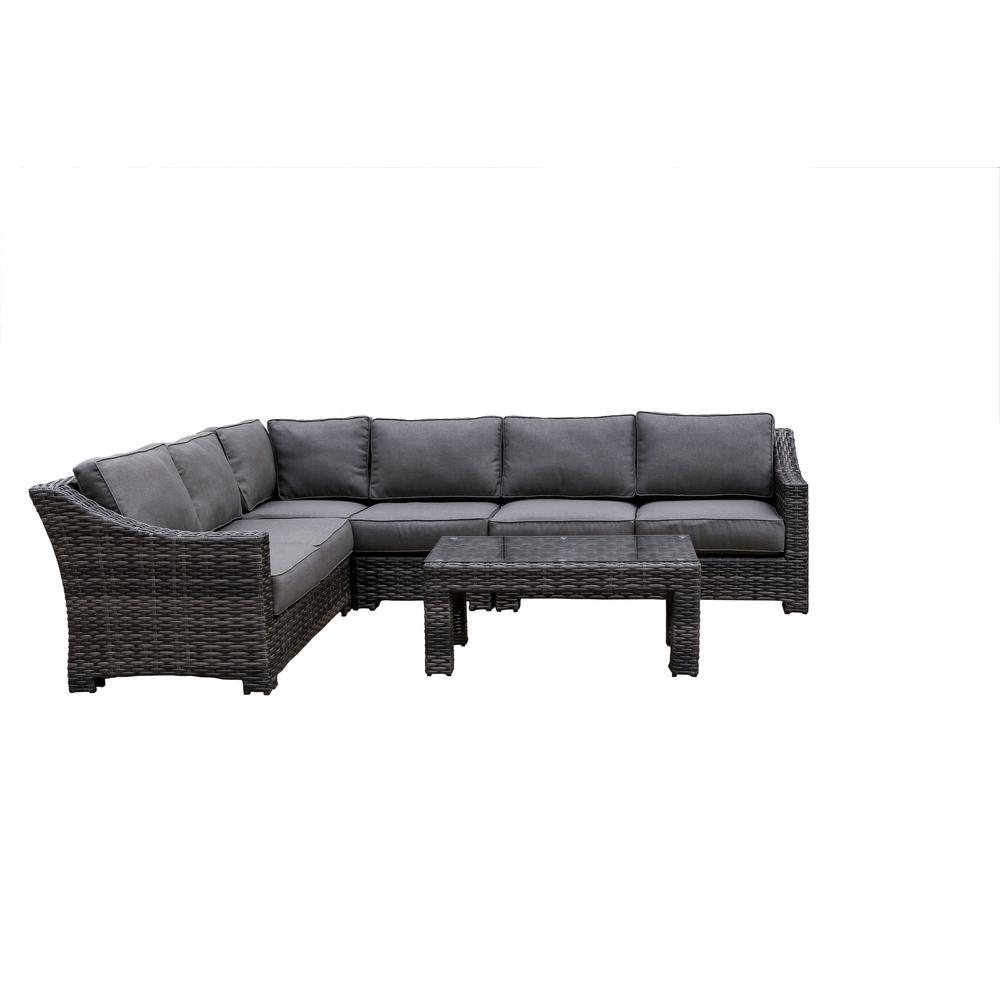Envelor Bora Bora 5-Piece Wicker Patio Sectional Seating Set with Olefin Charcoal Grey Cushions
