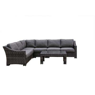 Bora Bora 5-Piece Wicker Patio Sectional Seating Set with Olefin Charcoal Grey Cushions