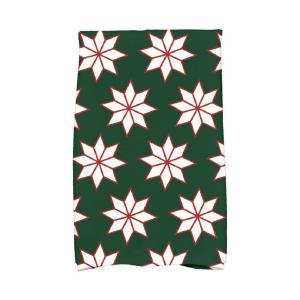 16 inch x 25 inch Dark Green Christmas Stars-1 Holiday Geometric Print Kitchen Towel by
