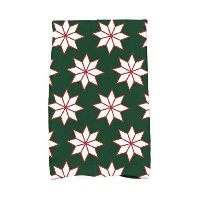 16 in. x 25 in. Dark Green Christmas Stars-1 Holiday Geometric Print Kitchen Towel