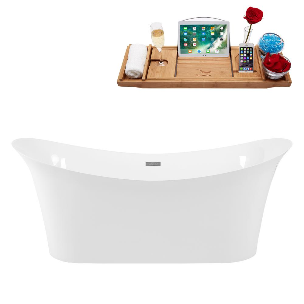 Streamline 66.9 in. Solid Surface Stone Resin Flatbottom Non-Whirlpool Bathtub in White
