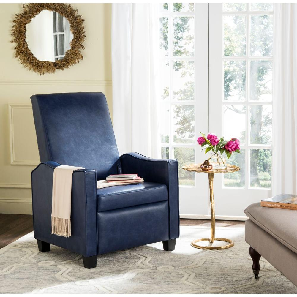 Outstanding Safavieh Holden Navy Bicast Leather Recliner Fox6208D The Gmtry Best Dining Table And Chair Ideas Images Gmtryco