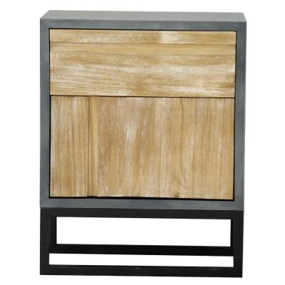 Shelly Assembled 22 in. x 22 in. x 14 in. Distressed Gray Wood Accent Storage Cabinet with Door