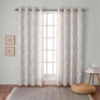Branches 54 in. W x 96 in. L Linen Blend Grommet Top Curtain Panel in Seafoam (2 Panels)