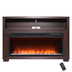AKDY 44 inch Freestanding Electric Fireplace Mantel Heater in Wooden Brown with Tempered Glass, Logs and Remote Control by AKDY