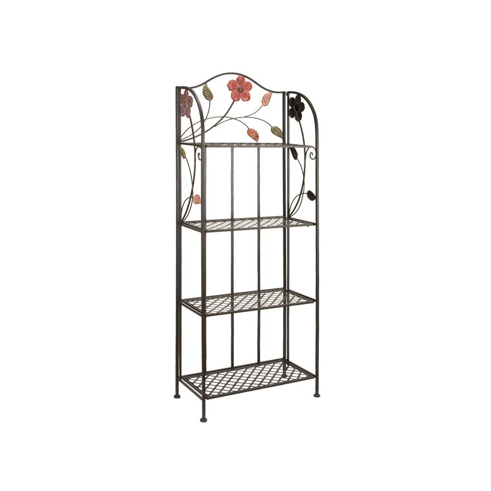 Litton Lane Black With Multi Color Flower And Leaf Details 4 Tier Baker S Rack
