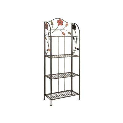 Black with Multi-Color Flower and Leaf Details 4-Tier Baker's Rack