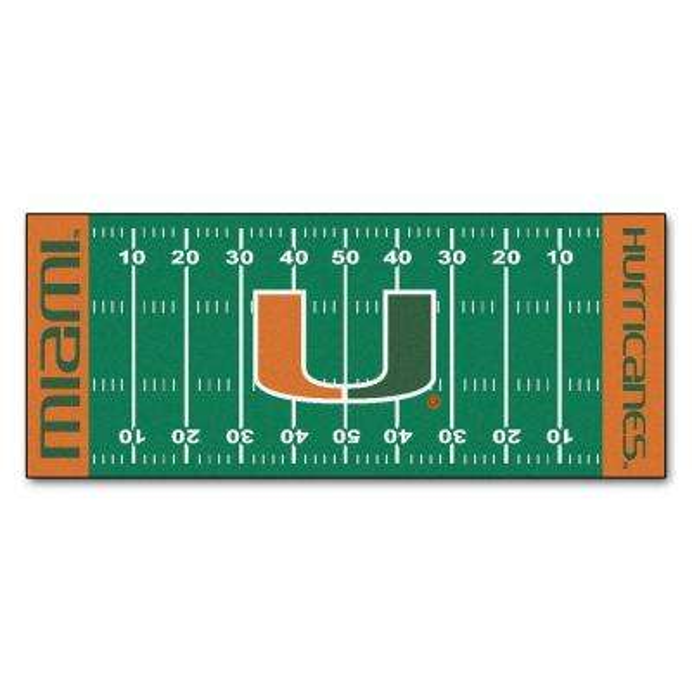 University of Miami 3 ft. x 6 ft. Football Field Rug Runner Rug
