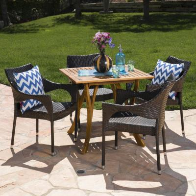 Jaxen 5-Piece Wood and Wicker Square Outdoor Dining Set with Stacking Chairs