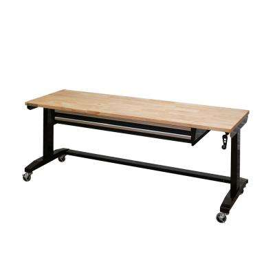 72 in. Adjustable Height Workbench Table with 2-Drawers in Black