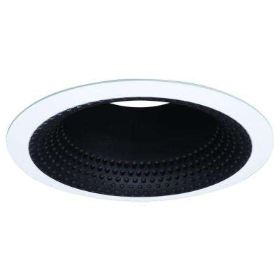 E26 Series 5 in. Black Recessed Ceiling Light Perftex Baffle with White Self Flanged Trim Ring