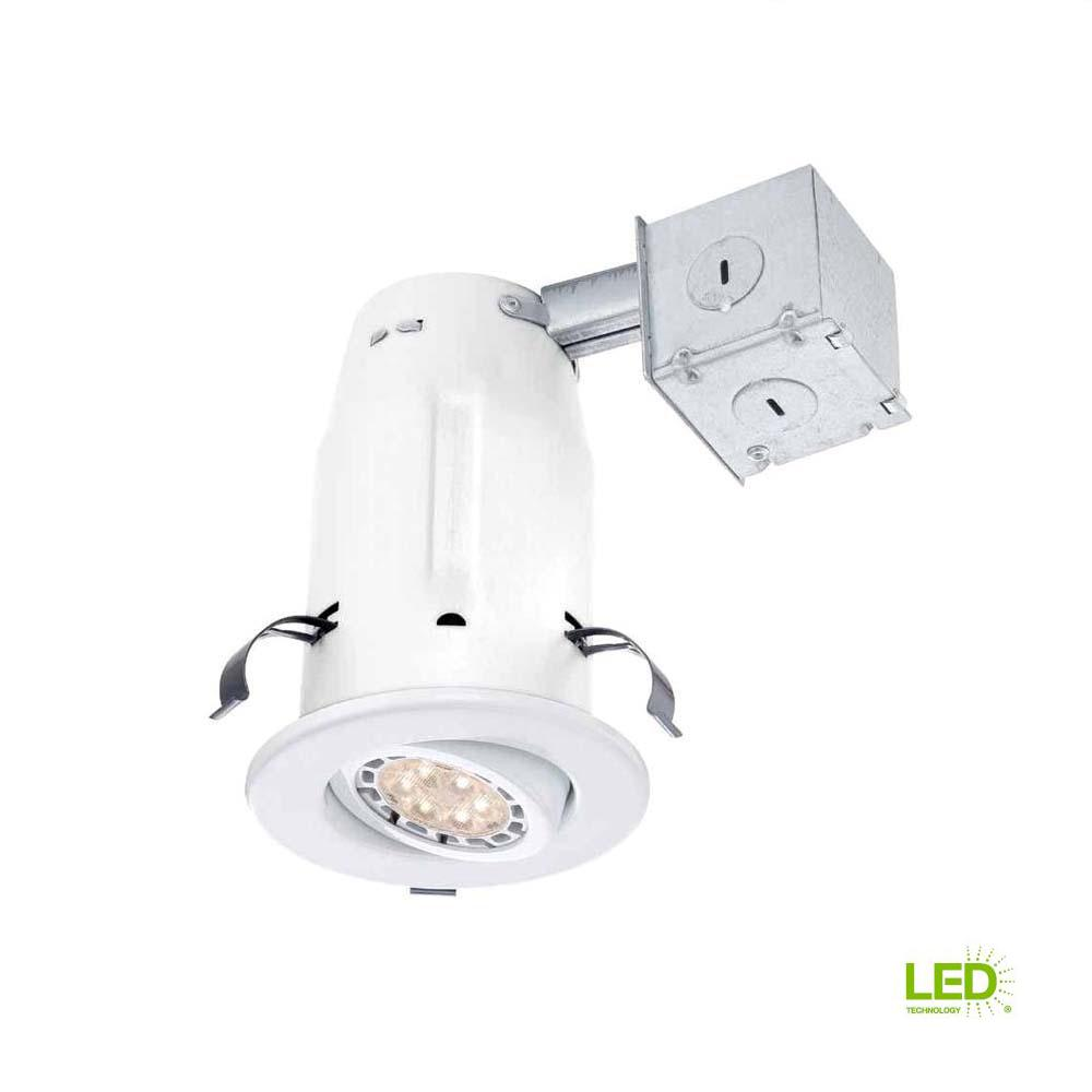 Commercial Electric 3 in. White Recessed Non-IC Gimbal LED-Lighting ...