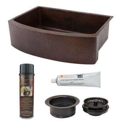 Copper 30 in. Single Bowl Rounded Kitchen Farmhouse Apron Front Sink and Drain in Oil Rubbed Bronze