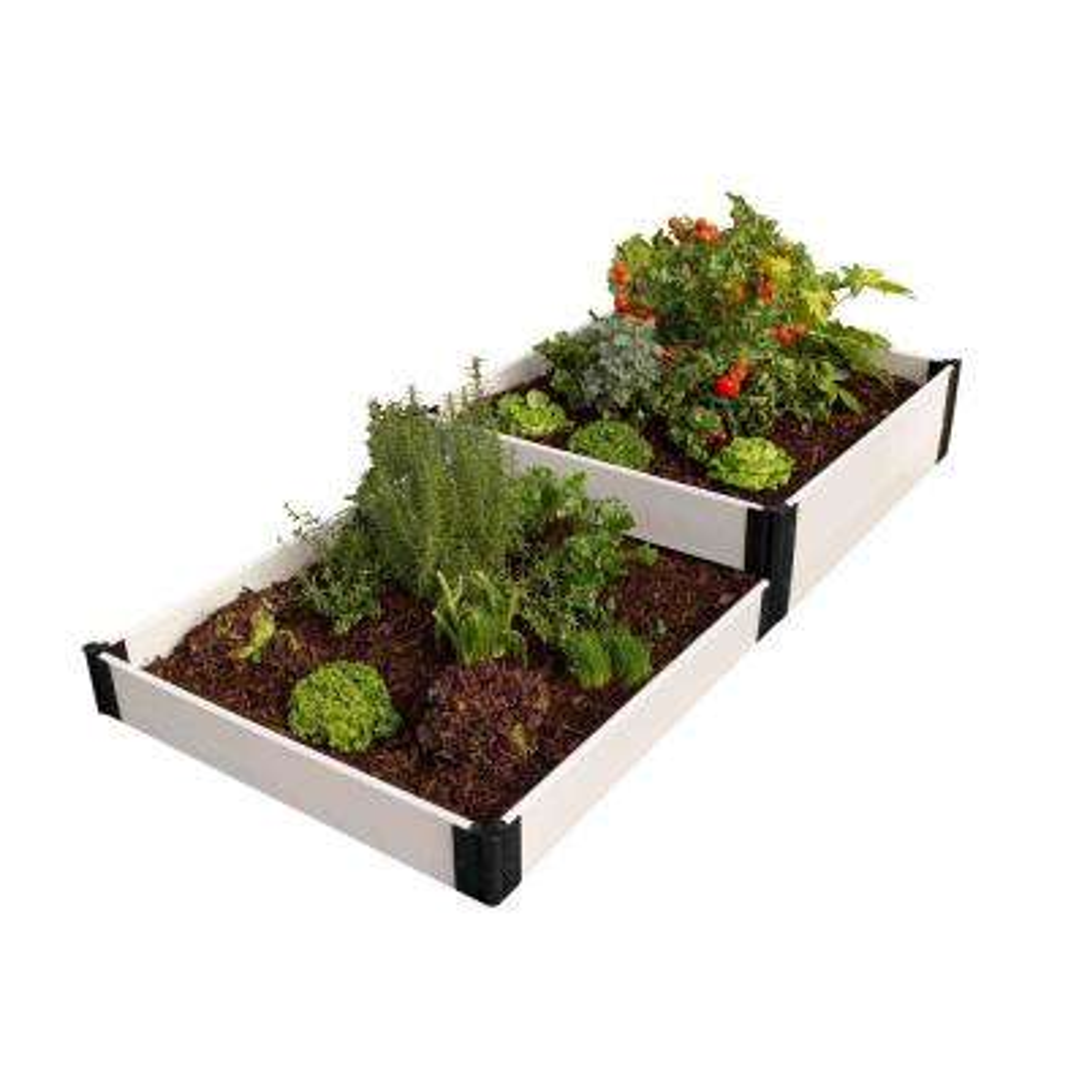 4 ft. x 8 ft. x 8 in. Classic White Composite Terraced Multi-level Raised Garden Bed Kit