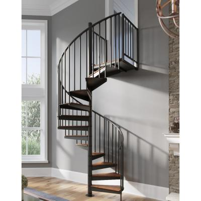 Condor Black Interior 60in Diameter, Fits Height 93.5in - 104.5in, 2 36in Tall Platform Rails Spiral Stair Kit