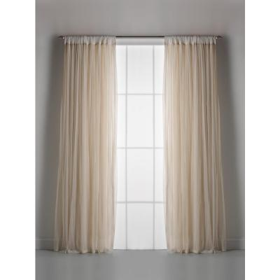 Whisper Ivory Net Tulle Light Filtering Gathered Curtain 54 in. W x 96 in. L