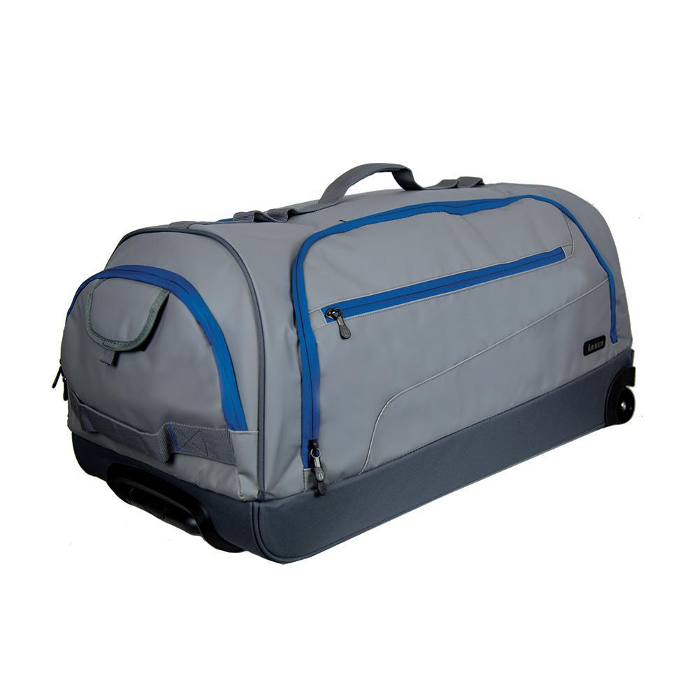 29 in. Grey/Blue Wheeled Duffel Bag
