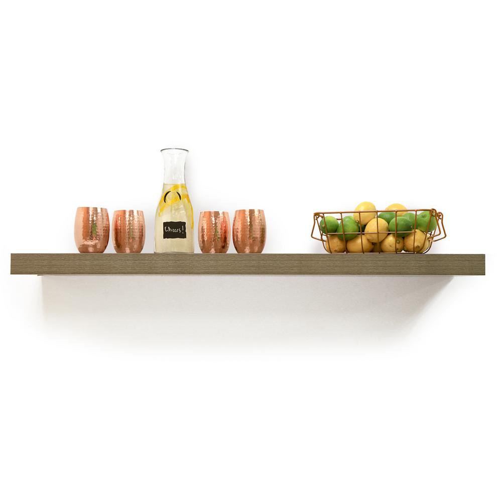 60 in. W x 10.2 in. D x 2 in. H Driftwood Gray Oak Extended Size Floating Shelf