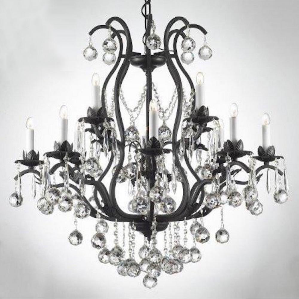 Versailles 12-Light Iron and Crystal Chandelier with Crystal Balls