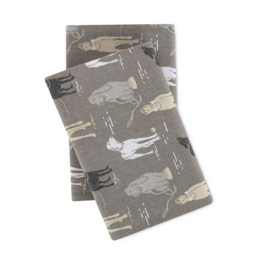 Modernist Dogs Cotton-Flannel Gray King Sheet Set SSRT04RCFSTDG