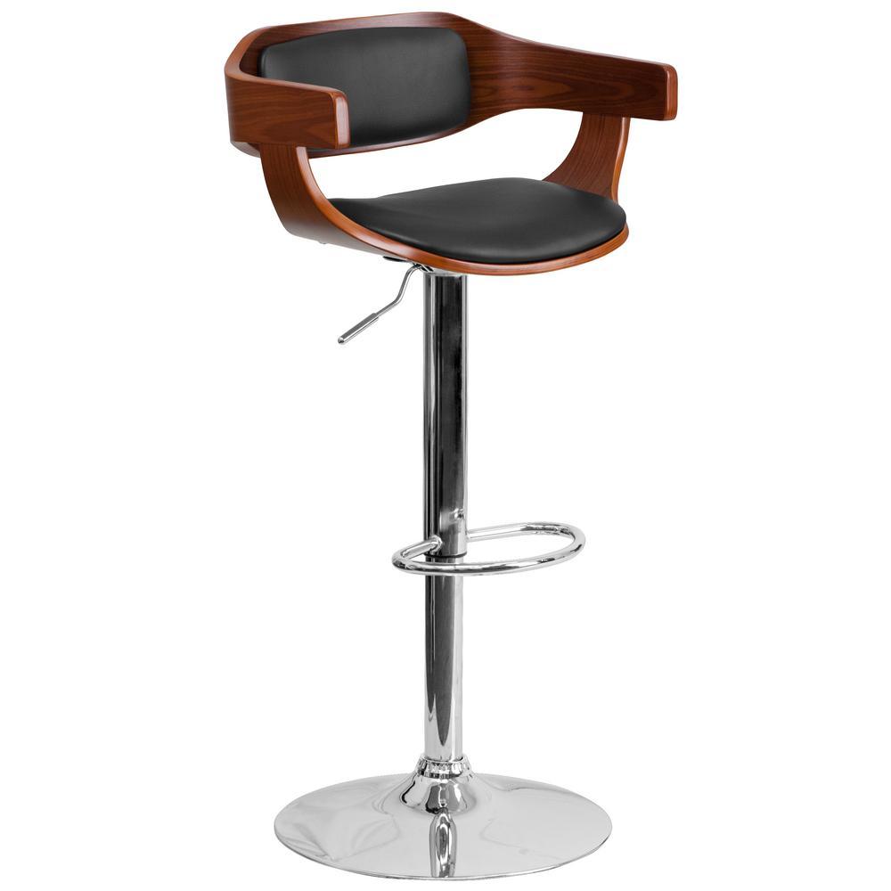 Adjustable Height Chrome Cushioned Bar Stool