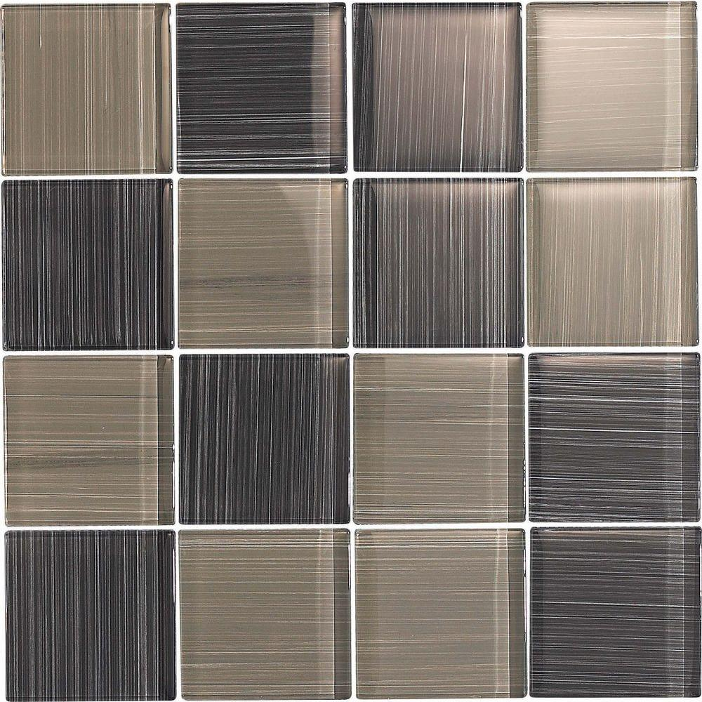Epoch Architectural Surfaces Brushstrokes Grigio-1504-3 Mosaic Glass Mesh Mounted - 4 in. x 4 in. Tile Sample-DISCONTINUED