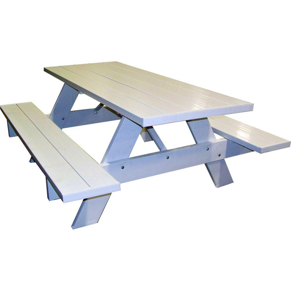 DuraTrel 60 in. x 72 in. Wood/Plastic White Patio Picnic Table-DISCONTINUED