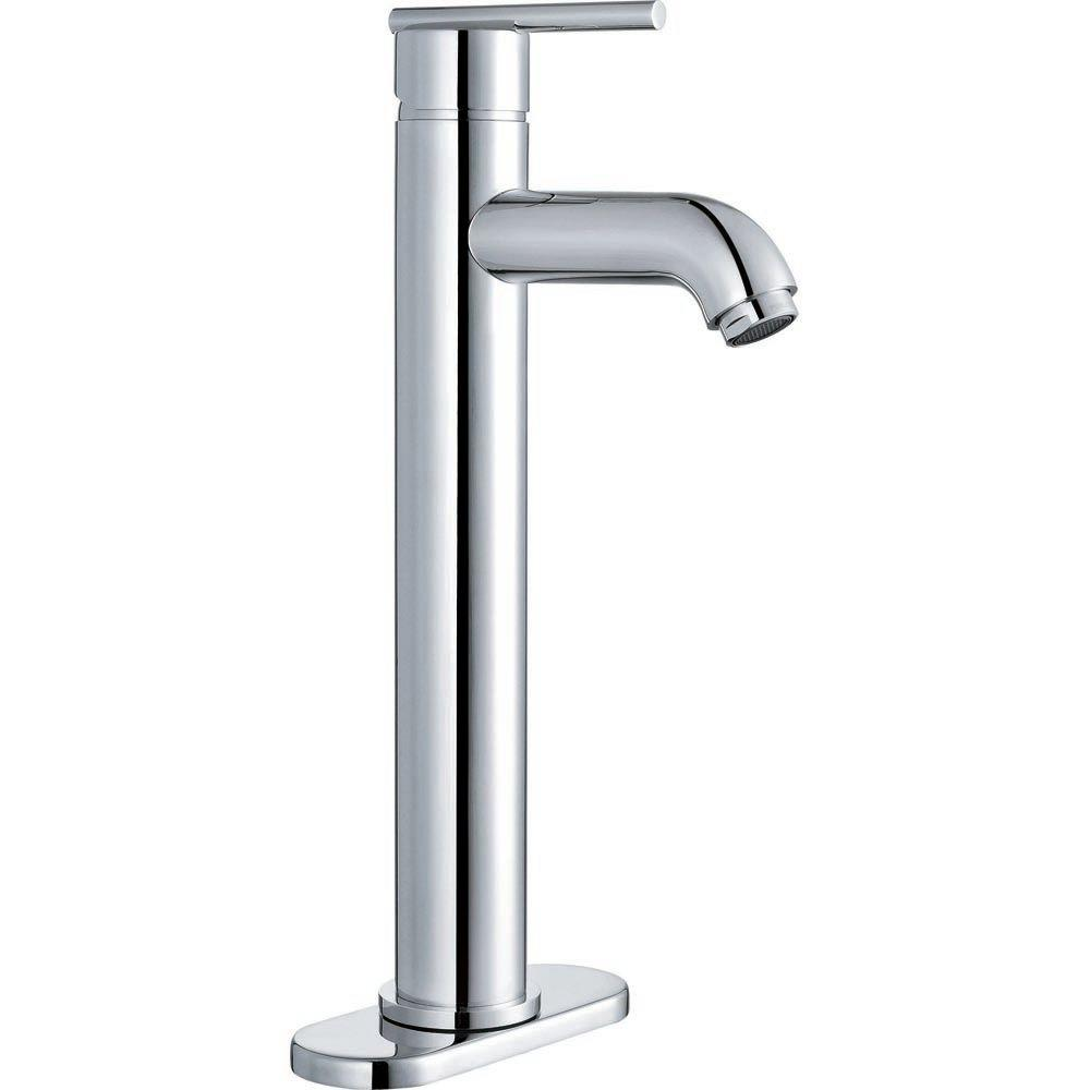 Sheffield Home Portici Single Hole 1-Handle Mid-Arc Bathroom Faucet with Removable Deckplate in Polished Chrome-DISCONTINUED