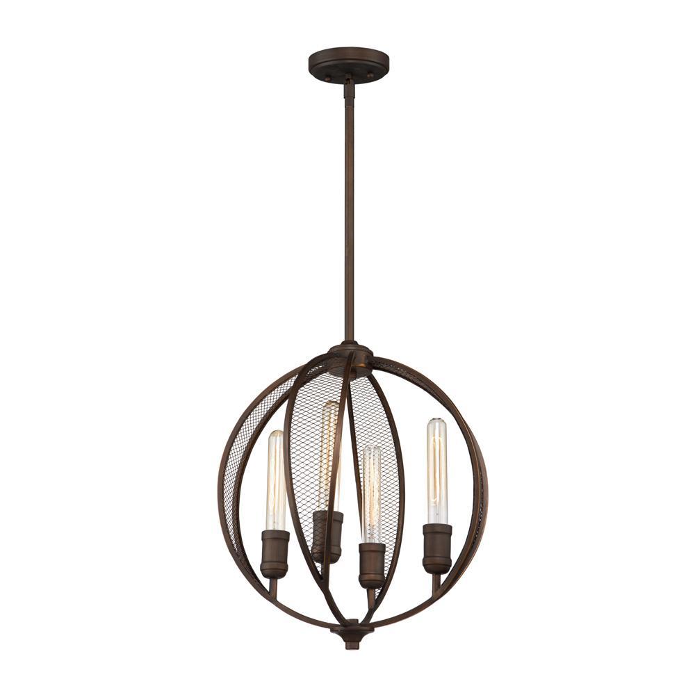 4-Light Bronze Chandelier