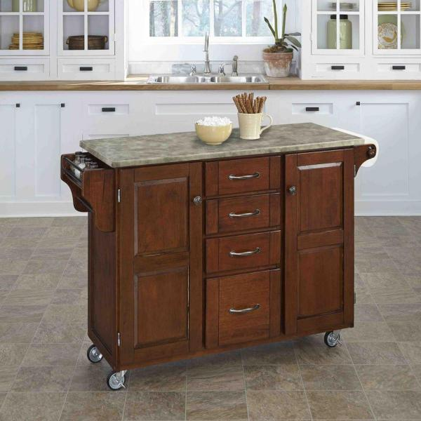 Home Styles Create-a-Cart Cherry Kitchen Cart With Concrete Top 9100-1711