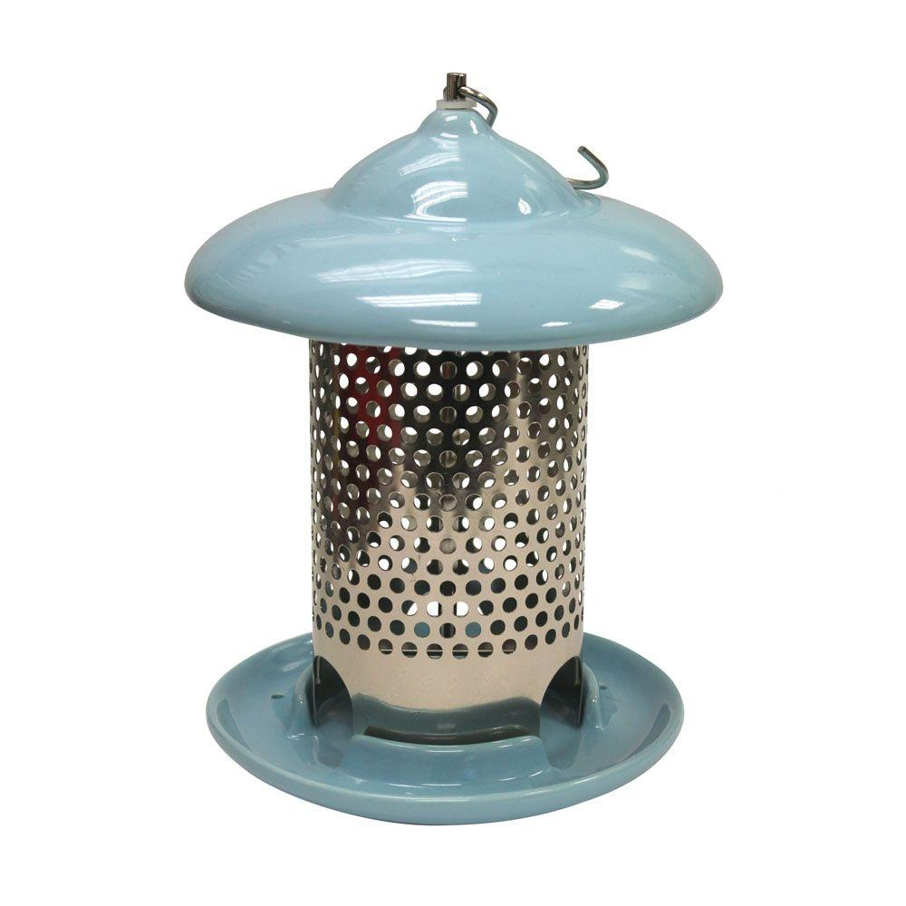 Bird Stop Blue Ceramic Wild Bird Feeder